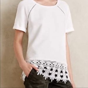 Anthropologie lace trim top white xs